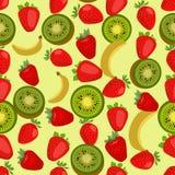Naadloze kleurrijke die achtergrond van aardbei, kiwi en banaan wordt gemaakt stock illustratie