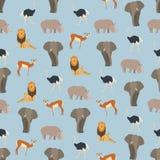 Naadloze kleurrijke die achtergrond van dieren van Afrika in vlakte wordt gemaakt stock illustratie