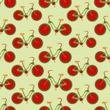 Naadloze kleurrijke die achtergrond van fietsen met aardbeiwiel wordt gemaakt stock illustratie