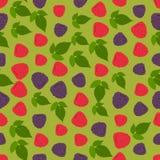 Naadloze kleurrijke die achtergrond van frambozen wordt gemaakt en blackberrie stock illustratie