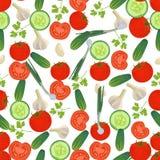 Naadloze kleurrijke die achtergrond van groenten in vlak ontwerp wordt gemaakt Royalty-vrije Stock Fotografie