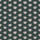 Naadloze kleurrijke die achtergrond van hoofden van muis in vlakke des wordt gemaakt stock illustratie