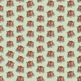 Naadloze kleurrijke die achtergrond van hoofden van tijgers in vlakke des wordt gemaakt royalty-vrije illustratie