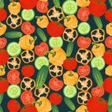 Naadloze kleurrijke die achtergrond van komkommer, peper en tomaat wordt gemaakt royalty-vrije illustratie