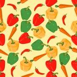 Naadloze kleurrijke die achtergrond van peper en wortel in vlakke D wordt gemaakt vector illustratie