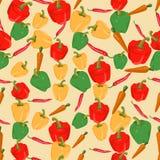 Naadloze kleurrijke die achtergrond van peper en wortel in vlakke D wordt gemaakt stock illustratie