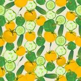 Naadloze kleurrijke die achtergrond van peper, komkommer wordt gemaakt en geel vector illustratie