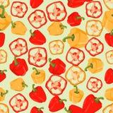Naadloze kleurrijke die achtergrond van plakken en gehele peper binnen wordt gemaakt royalty-vrije illustratie