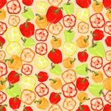 Naadloze kleurrijke die achtergrond van plakken en gehele peper binnen wordt gemaakt vector illustratie