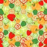 Naadloze kleurrijke die achtergrond van plakken en gehele peper binnen wordt gemaakt stock illustratie