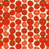 Naadloze kleurrijke die achtergrond van plakken en gehele tomaat binnen wordt gemaakt Royalty-vrije Stock Foto