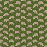 Naadloze kleurrijke die achtergrond van rinocerossen in vlak ontwerp wordt gemaakt royalty-vrije illustratie
