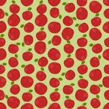 Naadloze kleurrijke die achtergrond van rode appelen in vlak ontwerp wordt gemaakt vector illustratie