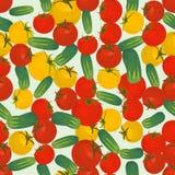 Naadloze kleurrijke die achtergrond van rode en gele tomaat en c wordt gemaakt royalty-vrije illustratie