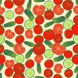Naadloze kleurrijke die achtergrond van rode tomaat en plakken en w wordt gemaakt vector illustratie
