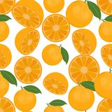 Naadloze kleurrijke die achtergrond van sinaasappelen in vlak ontwerp wordt gemaakt Stock Foto
