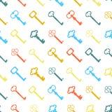 Naadloze kleurrijke die achtergrond van sleutels in vlak ontwerp wordt gemaakt stock illustratie