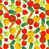 Naadloze kleurrijke die achtergrond van tomaat, wortel, komkommer, p wordt gemaakt vector illustratie