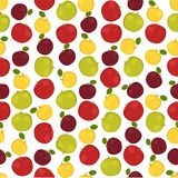 Naadloze kleurrijke die achtergrond van verschillend soort appelen binnen wordt gemaakt royalty-vrije illustratie