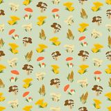 Naadloze kleurrijke die achtergrond van verschillend soort paddestoel wordt gemaakt royalty-vrije illustratie