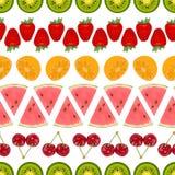 Naadloze kleurrijke die achtergrond van verschillende vruchten geschikte I wordt gemaakt Royalty-vrije Stock Fotografie