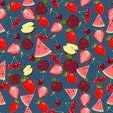 Naadloze kleurrijke die achtergrond van vruchten en bessen in vlakte wordt gemaakt Stock Afbeelding