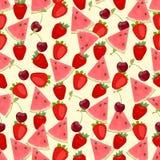 Naadloze kleurrijke die achtergrond van watermeloen, aardbei wordt gemaakt en Royalty-vrije Stock Foto