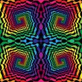 Naadloze Kleurrijke en Zwarte Golvende Gestreepte Spiralen die zich van het Centrum uitbreiden Optische illusie van Perspectief G stock illustratie