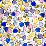 Naadloze kleurrijke halfedelstenen. stock afbeeldingen