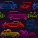 Naadloze kleurrijke oude tijdopnemerauto's en fietsen Stock Foto's