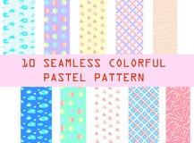 10 naadloze kleurrijke pastelkleurpatronen Royalty-vrije Stock Afbeeldingen