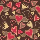 Naadloze krabbel kleurrijke harten Stock Afbeeldingen