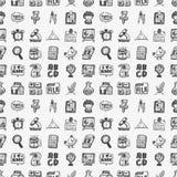 Naadloze krabbel terug naar het patroonachtergrond van het schoolelement Stock Afbeelding
