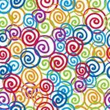 Naadloze krullenachtergrond, vector naadloos kleurrijk patroon, Royalty-vrije Stock Fotografie