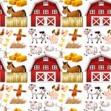 Naadloze landbouwbedrijfdieren en rode schuur vector illustratie