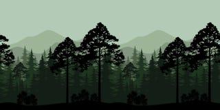 Naadloze Landschap, Bomen en Bergsilhouetten Stock Afbeeldingen