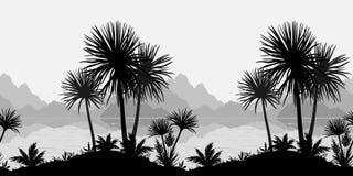 Naadloze landschap, palmen, overzees en bergen royalty-vrije illustratie