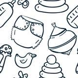 Naadloze leuk hand-trekt contourpatroon met speelgoed Royalty-vrije Stock Foto's