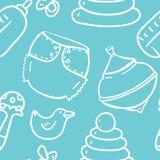 Naadloze leuk hand-trekt contourpatroon met speelgoed voor jongen Stock Foto