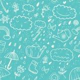 Naadloze leuk hand-trekt het patroon van de beeldverhaalstijl met paraplu, ritssluiting, wolk, rubberlaars, daling, boog, gieter Stock Foto's