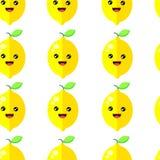 Naadloze leuke de citroenvector van de patroonglimlach royalty-vrije illustratie