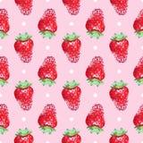 Naadloze leuke ordelijke achtergrond met aardbeien vector illustratie