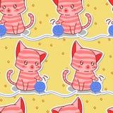 Naadloze leuke roze kat met blauw garenpatroon vector illustratie