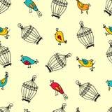 Naadloze leuke vogels met kooienpatroon Stock Foto