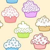 Naadloze lichte cupcakes Royalty-vrije Stock Foto's