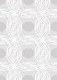 Naadloze lichte tegenover elkaar stellende achtergrond met ongelijke cirkelelementen, witte lijnpatronen op lichtgrijze achtergro Royalty-vrije Stock Foto's