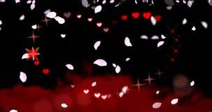 Naadloze lijn - de Harten en de Fonkelingen van de Valentijnskaartendag met Dalende Bloemblaadjeslijn stock videobeelden
