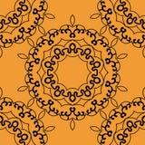 Naadloze mandala in overzichten op oranje achtergrond Stock Afbeeldingen