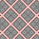 Naadloze moderne geometrische textuurvierkanten op de roze achtergrond Zwarte op witte vormen rombs, vierkant textiel, stoffenpat stock illustratie
