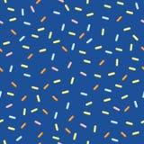 Naadloze Moderne Vectorconfettien Achtergrond patroon Het behandelen van banketbakkerij confettien op blauwe achtergrond vector illustratie